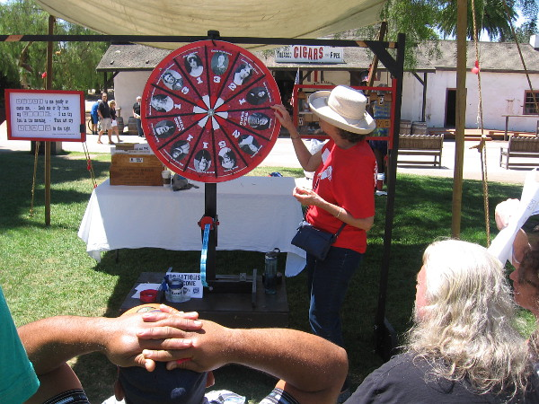 One of many fun games at TwainFest. Spinning the Wheel of Fiction, in order to solve a literary clue.