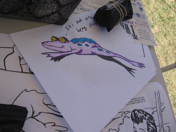 Characters and scenes from Mark Twain's stories could be colored, like The Celebrated Jumping Frog of Calaveras County.