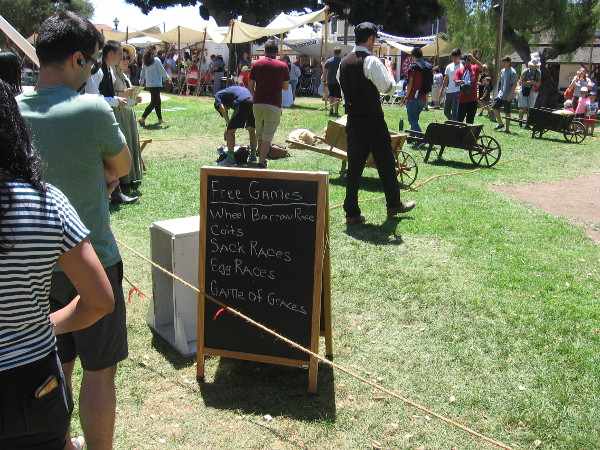 The young and the young at heart could play Victorian era games on the grass, including wheelbarrow races, sack races, egg races and the game of graces.