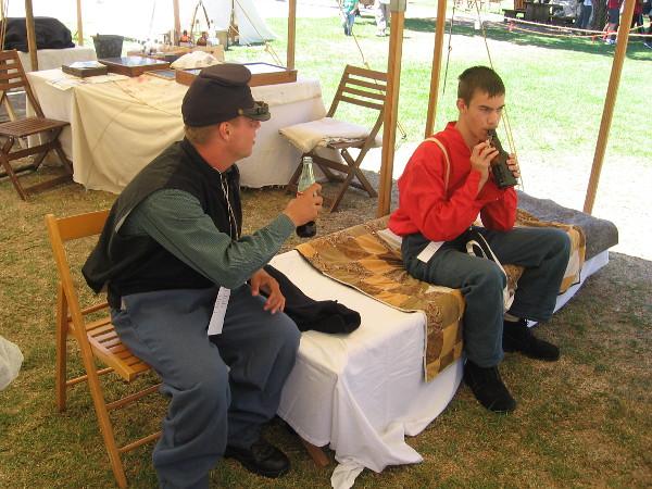 Some history reenactors had set up a Civil War era field encampment.