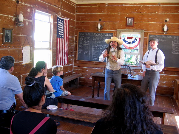 More dramatic words were being read inside Old Town's one room Mason Street Schoolhouse. I recognized funny passages from Tom Sawyer.
